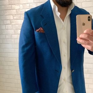 Blue Houndstooth Blazer Sport Coat Size 38S